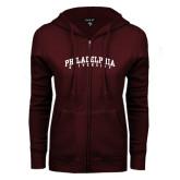 ENZA Ladies Maroon Fleece Full Zip Hoodie-Arched Philadelphia University