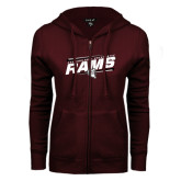 ENZA Ladies Maroon Fleece Full Zip Hoodie-Slanted Rams Stencil w/ Logo