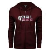 ENZA Ladies Maroon Fleece Full Zip Hoodie-PhilaU Rams Distressed