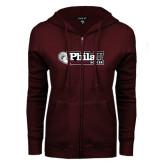 ENZA Ladies Maroon Fleece Full Zip Hoodie-Soccer