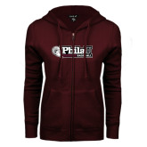ENZA Ladies Maroon Fleece Full Zip Hoodie-Baseball