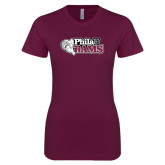 Next Level Ladies SoftStyle Junior Fitted Maroon Tee-PhilaU Rams