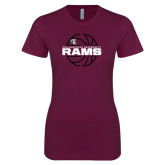 Next Level Ladies SoftStyle Junior Fitted Maroon Tee-Rams Basketball Lined Ball