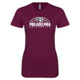 Next Level Ladies SoftStyle Junior Fitted Maroon Tee-Philadelphia University Basketball Half Ball