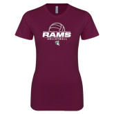 Next Level Ladies SoftStyle Junior Fitted Maroon Tee-Rams Volleyball Stacked