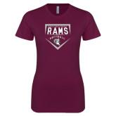 Next Level Ladies SoftStyle Junior Fitted Maroon Tee-Philadelphia Rams Softball Plate Design