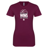 Next Level Ladies SoftStyle Junior Fitted Maroon Tee-One Thousand Wins