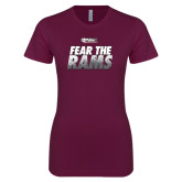 Next Level Ladies SoftStyle Junior Fitted Maroon Tee-Fear The Rams