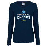 Ladies Navy Long Sleeve V Neck Tee-2018 Mens Basketball Champions