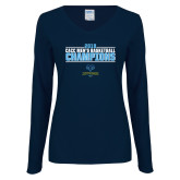 Ladies Navy Long Sleeve V Neck Tee-2018 Mens Basketball Champions Stacked