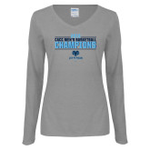 Ladies Grey Long Sleeve V Neck Tee-2018 Mens Basketball Champions Stacked