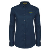 Ladies Navy Twill Button Down Long Sleeve-Jefferson Rams