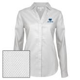 Philadelphia Ladies Red House Diamond Dobby White Long Sleeve Shirt-Primary Mark