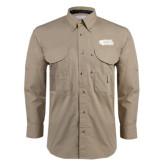 Khaki Long Sleeve Performance Fishing Shirt-PhilaU Rams