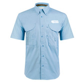 Light Blue Short Sleeve Performance Fishing Shirt-PhilaU Rams