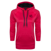 Ladies Pink Raspberry Tech Fleece Hoodie-Ram Head