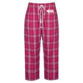 Ladies Dark Fuchsia/White Flannel Pajama Pant-PhilaU Rams