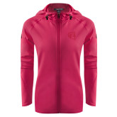 Ladies Tech Fleece Full Zip Hot Pink Hooded Jacket-Ram Head