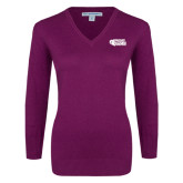 Ladies Deep Berry V Neck Sweater-PhilaU Rams