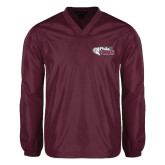 V Neck Maroon Raglan Windshirt-PhilaU Rams