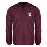 V Neck Maroon Raglan Windshirt-Ram Head