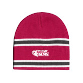 Pink/Charcoal/White Striped Knit Beanie-PhilaU Rams