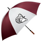 62 Inch Maroon/White Umbrella-Ram Head