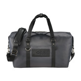 Cutter & Buck Pacific Series Black Weekender Duffel-Official Greek Letters Two Color Debossed