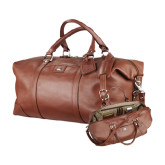 Cutter & Buck Brown Leather Weekender Duffel-Official Greek Letters Two Color Engraved