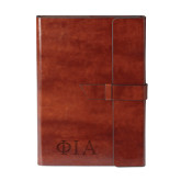 Fabrizio Brown Portfolio w/Loop Closure-Official Greek Letters Two Color Engraved