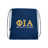 Navy Drawstring Backpack-Greek Letters Stacked