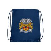 Navy Drawstring Backpack-Crest