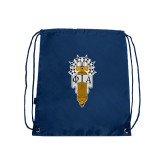 Navy Drawstring Backpack-Badge