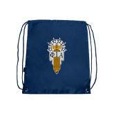 Navy Drawstring Backpack-Badge