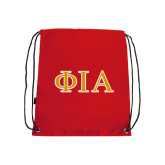 Red Drawstring Backpack-Official Greek Letters Two Color