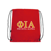 Red Drawstring Backpack-Greek Letters Stacked