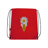 Red Drawstring Backpack-Badge