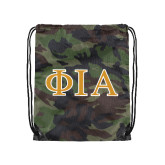 Camo Drawstring Backpack-Official Greek Letters Two Color