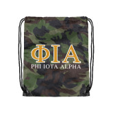 Camo Drawstring Backpack-Greek Letters Stacked