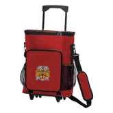30 Can Red Rolling Cooler Bag-Crest