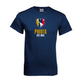 Navy T Shirt-Est Yeat Stacked With Phi Badge