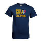 Navy T Shirt-PHI IOTA ALPHA Stacked Left with Badge