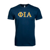 Next Level SoftStyle Navy T Shirt-Official Greek Letters Two Color