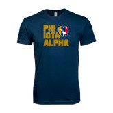Next Level SoftStyle Navy T Shirt-PHI IOTA ALPHA Stacked Left with Badge