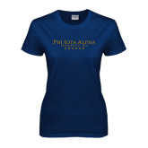 Ladies Navy T Shirt-PHI Stars