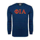 Navy Long Sleeve T Shirt-Official Greek Letters Two Color