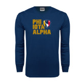 Navy Long Sleeve T Shirt-PHI IOTA ALPHA Stacked Left with Badge