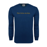 Navy Long Sleeve T Shirt-Wordmark Flat