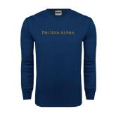 Navy Long Sleeve T Shirt-Wordmark Flat