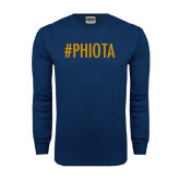 Navy Long Sleeve T Shirt-Hashtag PHIOTA